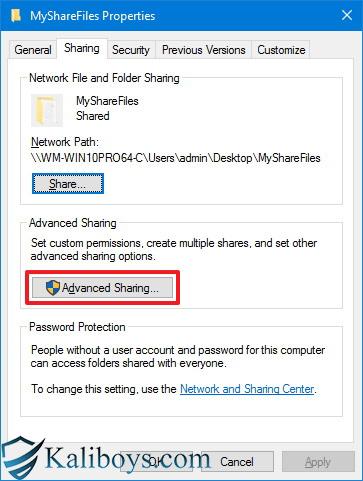 اشتراک فایل ها و پوشه ها در سیستم عامل ویندوز