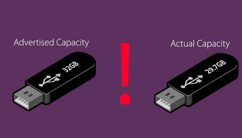 چرا ظرفیت یک حافظه از مقدار واقعی آن کمتر است؟