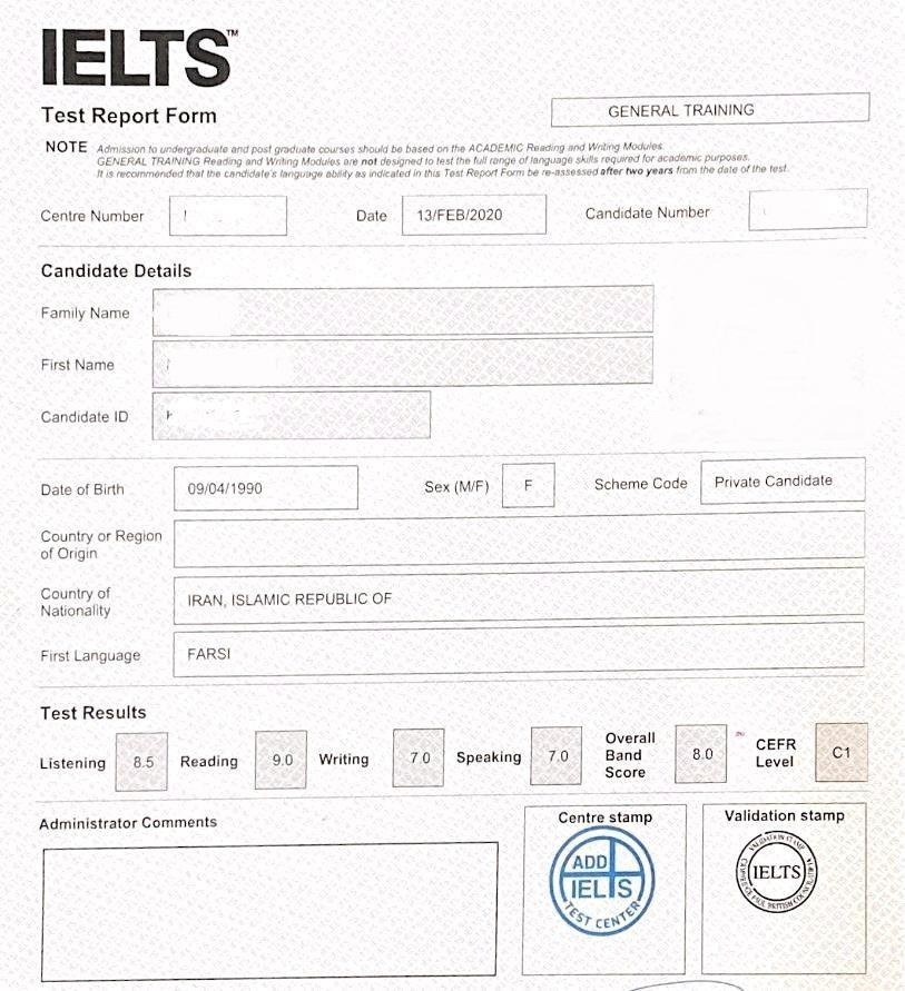 کارنامه قبولی ielts